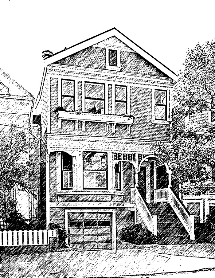 Custom home sketch from your photo for Exterior house drawing