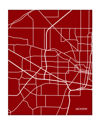 Jackson Mississippi Portrait City Map