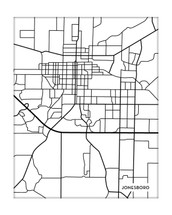 Jonesboro Arkansas City Map in Portrait