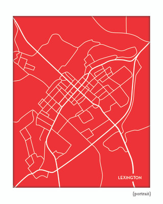 Lexington Virginia city map art