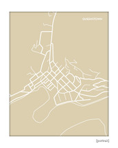 Queenstown New Zealand map art print