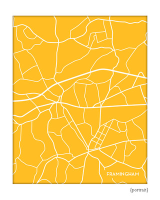 Framingham Massachusetts city map print