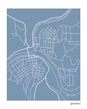 Oil City Pennsylvania map print