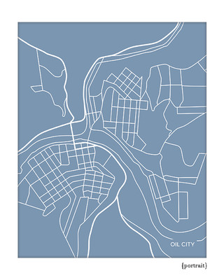 Oil City Pennsylvania map print