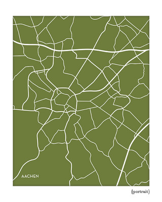 Aachen Germany City Map Print