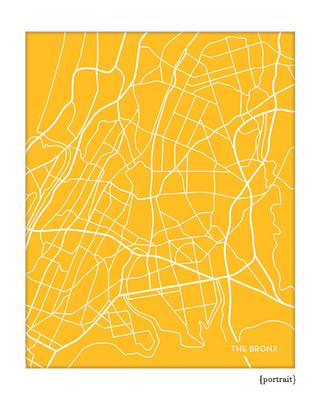 The Bronx city map art