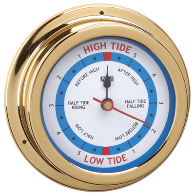 RWB Tide Clock Brass/Chrome 120mm