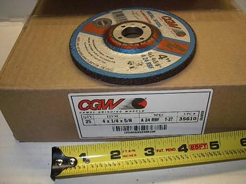 "4""x1/4""x5/8"" Grind Wheel A24-R-BF, 15,300 rpm $1.25"