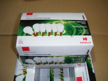 75 Watt Frost Rough Service Light Bulbs, 2,000 hr, 6 pack