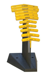 """Bondhus 13190 10pc Balldriver T-Handle Set 3/32-3/8"""" w/ Stand"""