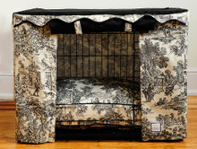 Black Toile Crate Cover