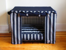 Nautical Navy Blue Stripe Crate Cover