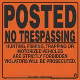 Posted No Trespassing Signs - Orange Aluminum