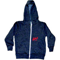Dark Heather Grey Zipper Hoodie with Red HOK9