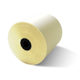 """3"""" x 95' White/Canary 2-Ply Carbonless Paper (50 Rolls)"""