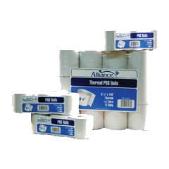 """Alliance Imaging Products 3236 3-1/8"""" x 230' BPA Free Thermal 1 Ply 48GSM 7/16"""" ID Core 24 Rolls Per Case"""
