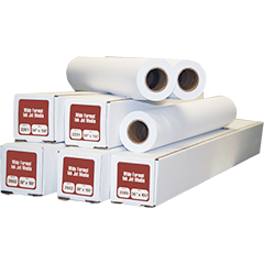 "17"" x 150' Ink Jet Bond Plotter Paper 1 Ply 20# 2"" ID Core 4 Rolls Per Case"