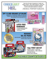 Private label  - We manufacture private label first aid products  & health and beauty • Bandages • First Aid Kits • Ice Packs - Reusable custom designs, instant, & plush ice pack covers • Balms - lip, check, arnica boo+boo and diaper-aid balms • Bath & Cosmetic • Tins