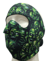 Face Mask - Green Skulls Neoprene