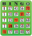 Large Print Bingo Shutter Card, Quantity 50 to 99 Cards