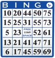 Single Face Bingo Hard Card Blue Sold 20 Per Pack