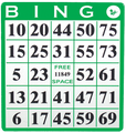 Single Face Bingo Hard Card Green Sold 20 Per Pack