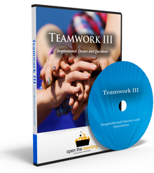 Uplift and inspire your team or organization with this team quotes DVD. Our Teamwork III DVD is a collection of teamwork quotes and questions played to a beautiful soundtrack and stunning high resolution photos. This DVD is perfect for playing prior to a meeting, presentation or training as people are walking in.