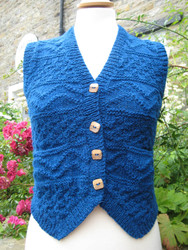 Ladies Frith Waistcoat in Denim Blue Welsh Wool