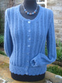 Shunnerfell cardigan Hand Knitted in blue Wensleydale wool.