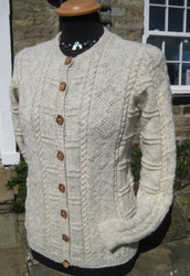 Ladies hand-knitted cardigan in Natural Swaledale Wool with real wood buttons.