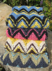 Hand-knitted scarf in Wensleydale wool.
