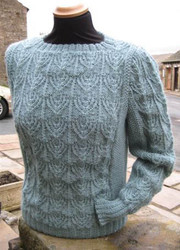 Reeth sweater Hand Knitted in jade green Wensleydale wool.