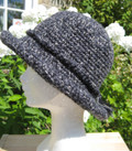 Hand-crocheted hat in Swaledale wool in natural, navy, green, rust or black. Ladies.