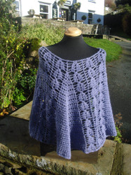 Crocheted Poncho in Wensleydale wool