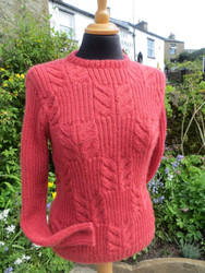 Ladies Grinton Sweater in Coral Red