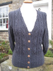 Oxnop cardigan in charcoal grey Wensleydale wool