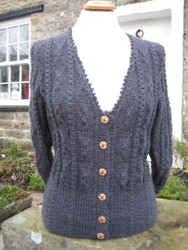 Oxnop cardigan in charcoal grey Wensleydale wool