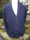 Hand Framed ladies shawl collar cardigan in navy British wool.