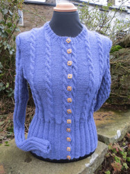 Ladies Hawes Cardigan in Harebell Blue.