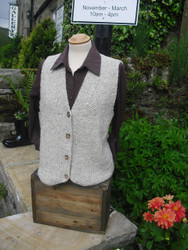 Hand Knitted Moss-Stitch Waistcoat in Natural Aran Swaledale Wool with wood buttons