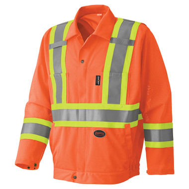 Hi-Vis Traffic Safety Jacket with Mesh - CSA, Class 1 & 2 - Pioneer - 6001J Orange