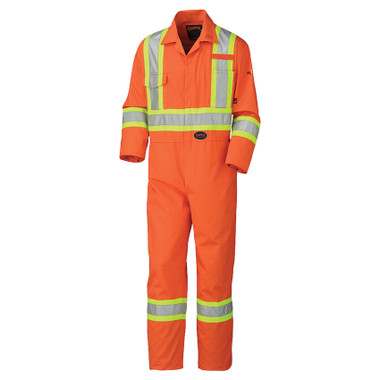 Hi-Vis Fire Resistant Cotton Safety Coverall - FR, CSA - Pioneer 5555 Orange