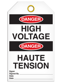 BILINGUAL DANGER – HIGH VOLTAGE TAG