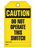 CAUTION - DO NOT OPERATE THIS SWITCH