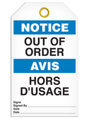 BILINGUAL NOTICE – OUT OF ORDER TAG