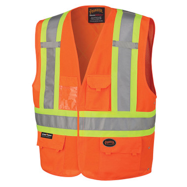 Hi-Vis Tricot Safety Vest - CSA, Class 1 & 2 - Pioneer - 134 Orange