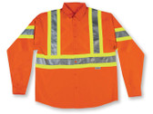 Hi-Vis 100% Cotton Button-Up Safety Shirt - CSA, Class 2 - Big K - 555ORG