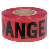"Black on Red ""Danger"" Barricade Tape - 1,000 Ft - Pioneer - 389"