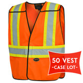 Hi-Vis Poly Safety Vest - CASE LOT of 50 - Pioneer - Orange 6954