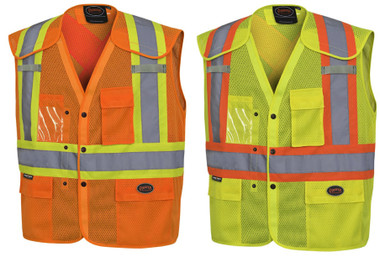 Hi-Vis Drop Shoulder Safety Vest with Snaps - CSA, Class 2 - Pioneer - 6938A & 6939A
